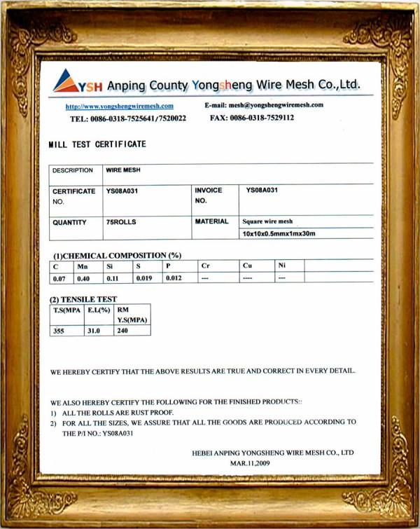 Certificate of Anping County Yongsheng Wire Mesh Co.