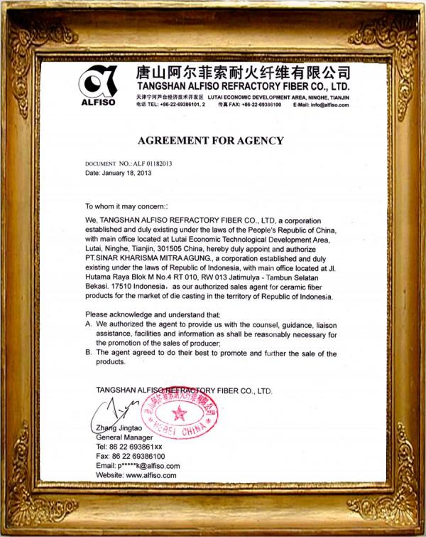 Certificate of Tangshan Alfiso Refractory Fiber – Agreement for Agency